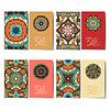 Sammlung von dekorativen floralen Visitenkarten,