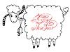 Rutsch ins neue Jahr Design-Karte mit Ziege oder Schaf,
