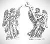 digitale Zeichnung Marmorstatue von zwei Engeln