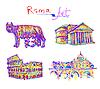 Set berühmten Platz von Rom Italien, Original-Zeichnung