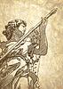 Skizze digitale Zeichnung Marmorstatue Engel
