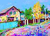 digitale Malerei Herbst ländlichen Landschaft mit Hütte