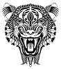 Original Schwarzkopf Tigerzeichnung mit geöffnetem Fall