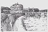 Zeichnung des Stadtbild mit Festung Sant`Angelo i