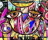 abstrakte digitale Malerei Kunstwerk von doodle Eule