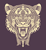 Original Kopf Tiger Zeichnung mit geöffnetem Fall