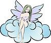 Fee mit lila Flügeln