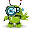 Roboter mit Vergrößerungsglas