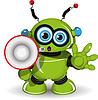 grüner Roboter mit Lautsprecher