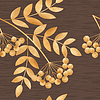 Векторный клипарт: Золотая осень листья и рябина ягода