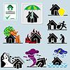 Векторный клипарт: домой страховые иконки