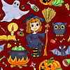 Cute Cartoon Halloween nahtlose Muster rot