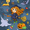 Cute Cartoon Halloween nahtlose Muster mit Hexe