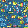 Nette Hand gezeichnete nahtlose Muster mit Spielzeug blau