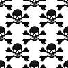 Cartoon schwarzen und weißen Totenköpfen nahtlose Muster