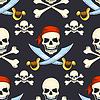 Cartoon Hand gezeichnet Piraten-Schädel nahtlose Muster