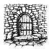 Gewölbte Tür in einer Steinmauer, scatch