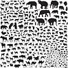 Silhouetten von Wildtieren in Asien