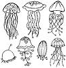Estilizada medusas aislamiento | Ilustración vectorial
