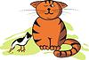 Vektor-Illustration lustig Katze und Vogel