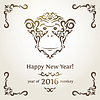 Векторный клипарт: Приветствие Новогодняя открытка с обезьяной - символом года