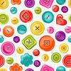 Векторный клипарт: Бесшовные печати с цветными кнопками. фон