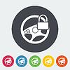 Векторный клипарт: Руль машины плоской значок