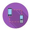 Векторный клипарт: Телефон синхронизации один значок