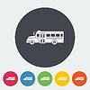 Векторный клипарт: Школьный автобус плоский значок