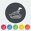 Векторный клипарт: Корабль плоский значок