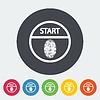 Векторный клипарт: Старт-стоп кнопка защиты по отпечаткам пальцев