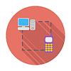 Векторный клипарт: Телефон синхронизации единой плоской значок