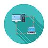 Векторный клипарт: Компьютер синхронизации единой плоской значок