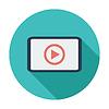 Векторный клипарт: Видеоплеер плоский значок