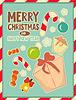 ID 4555565 | Christmas retro Postkarte mit Spielzeug und Geschenk-Box | Stock Vektorgrafik | CLIPARTO