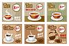 Satz von Kaffee und Tee Speisekarte