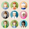 Satz von Runde flachen Icons mit Frauen