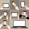 Wohnung Reihe von Geräten mit leeren weißen Bildschirm