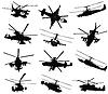 Hubschrauber Silhouetten eingestellt