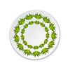 Runde Porzellanteller auf die Malerei der grünen Blatt auf