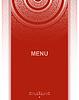 Menü Dekoration auf rotem Hintergrund mit Spitze