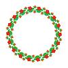 Векторный клипарт: Круглый цветочный элемент дизайна листьев и ягод.