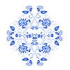 Векторный клипарт: Синий цветочный элемент в русской национальной стиле Гжель