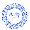 Векторный клипарт: Цветок синяя рамка в стиле Гжель. V
