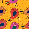 Векторный клипарт: Ярко-оранжевый бесшовный фон с птицами в