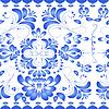 Векторный клипарт: Бесшовные текстуры с синим цветочным орнаментом. Гжель