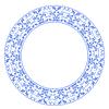 Векторный клипарт: Круглая рамка с синими цветами в стиле Гжель б
