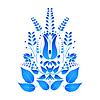 Векторный клипарт: Синий цветок в стиле Гжель. Vecto