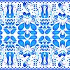 Векторный клипарт: Синий бесшовных текстур с цветочным орнаментом в