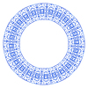 Векторный клипарт: Круглый элемент дизайна с цветочным орнаментом в Гжели